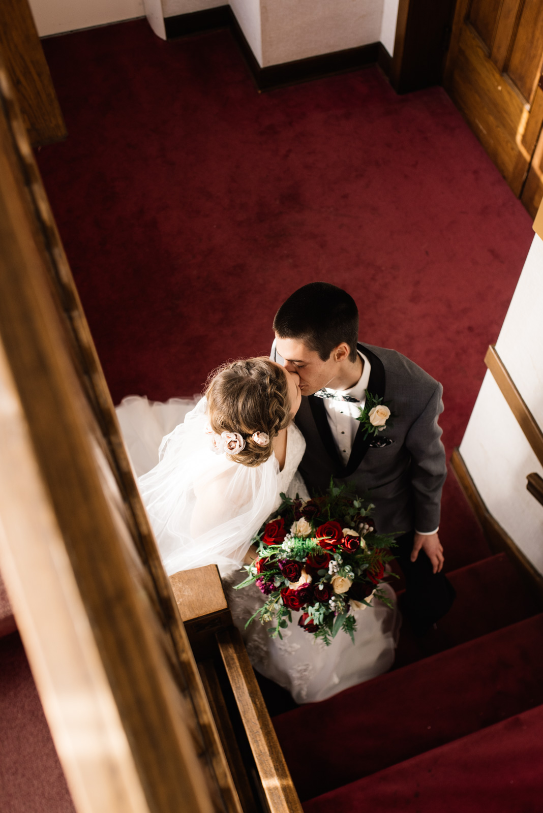 bride and groom kissing St. Paul's United Methodist Church Wedding