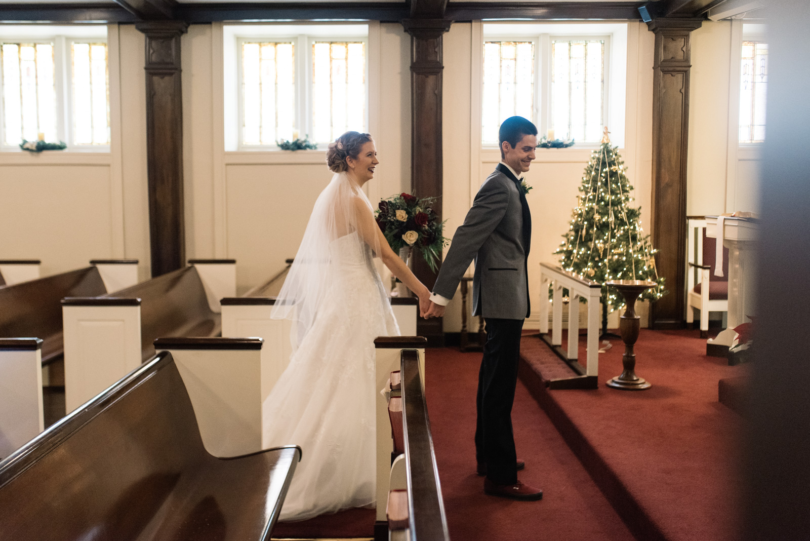 first look St. Paul's United Methodist Church Wedding