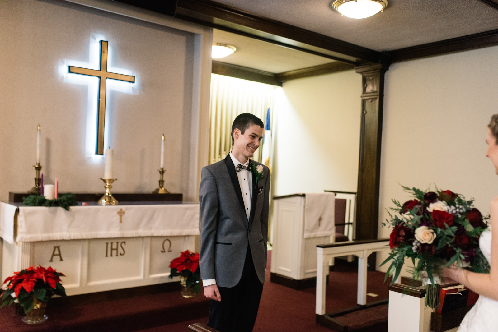 grooms first look reaction St. Paul's United Methodist Church Wedding
