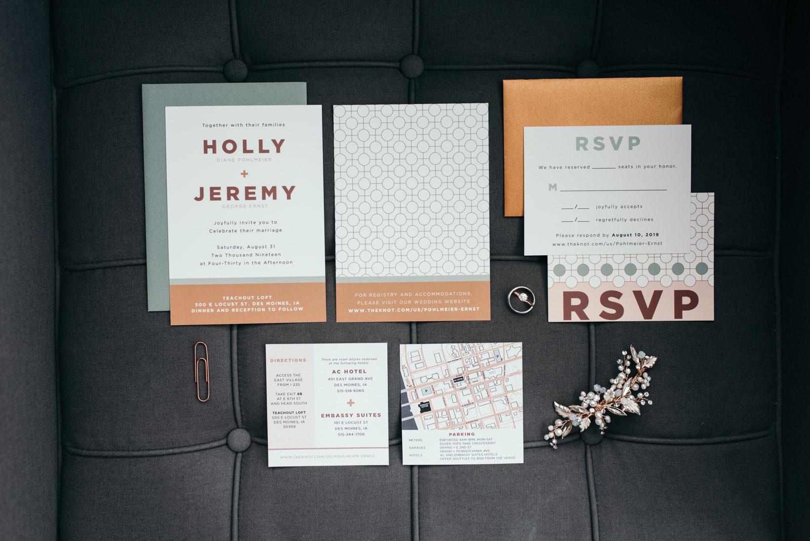 wedding invitation suite des moines iowa wedding