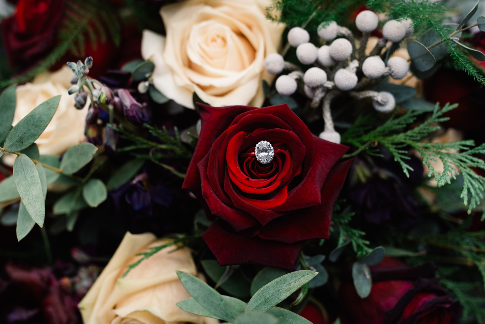 wedding ring in iowa winter wedding flower bouquet
