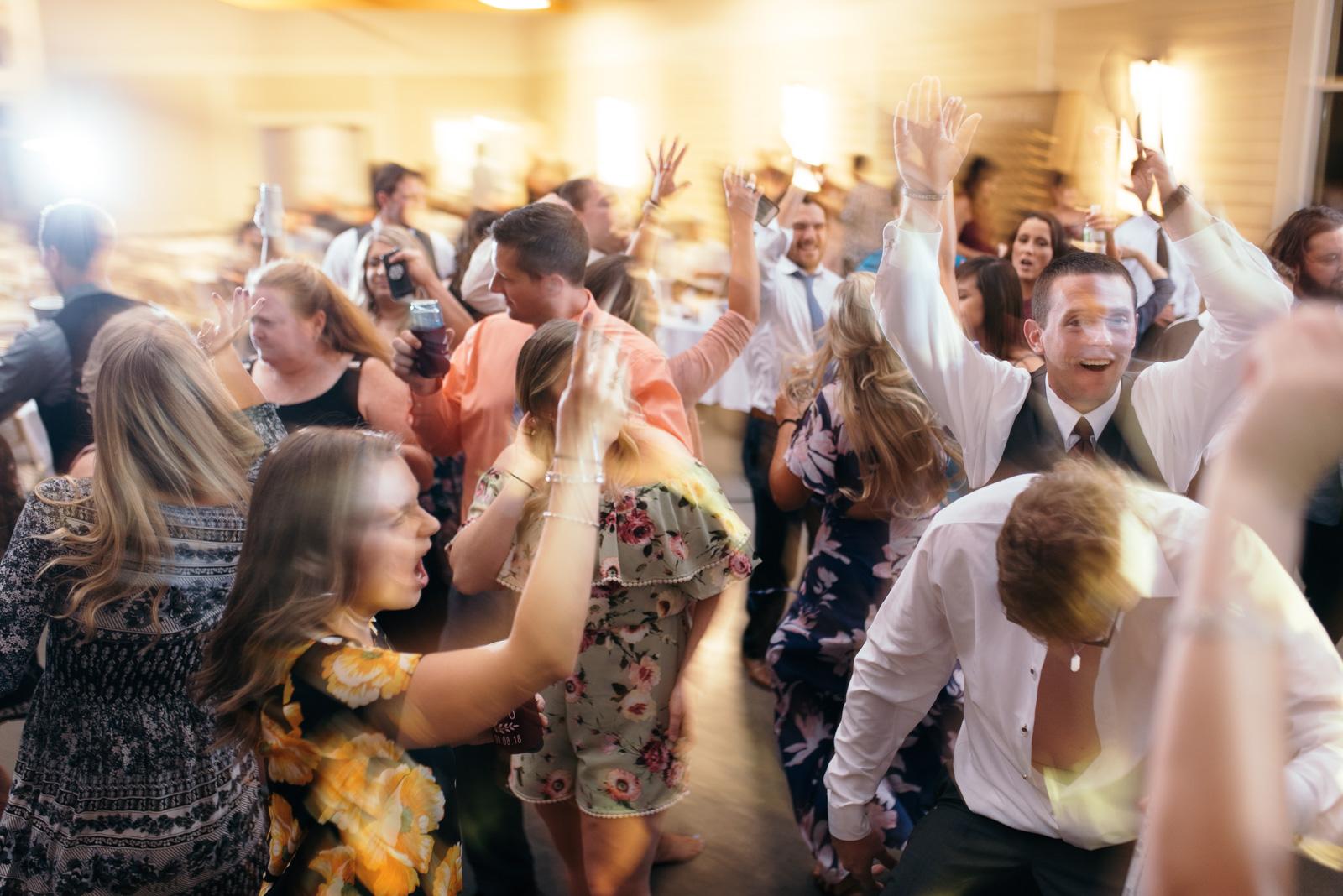 wedding guests dancing Ushers Ferry Historic Village wedding venue