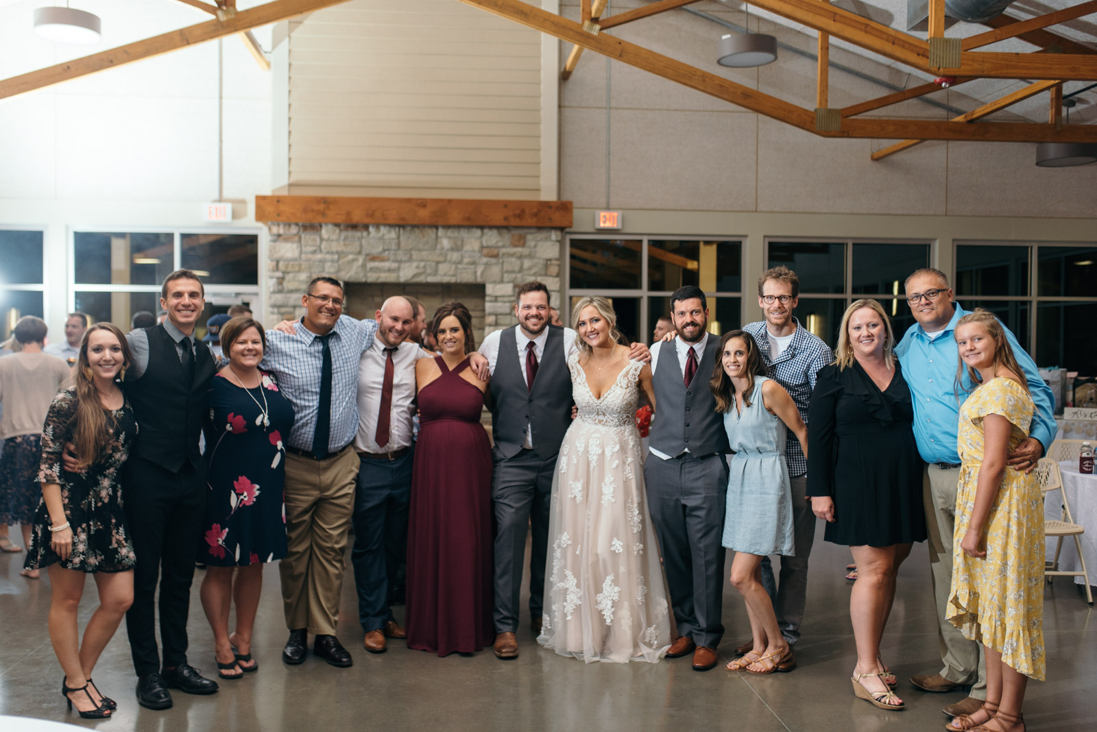 bride and groom with wedding guests Ushers Ferry Historic Village