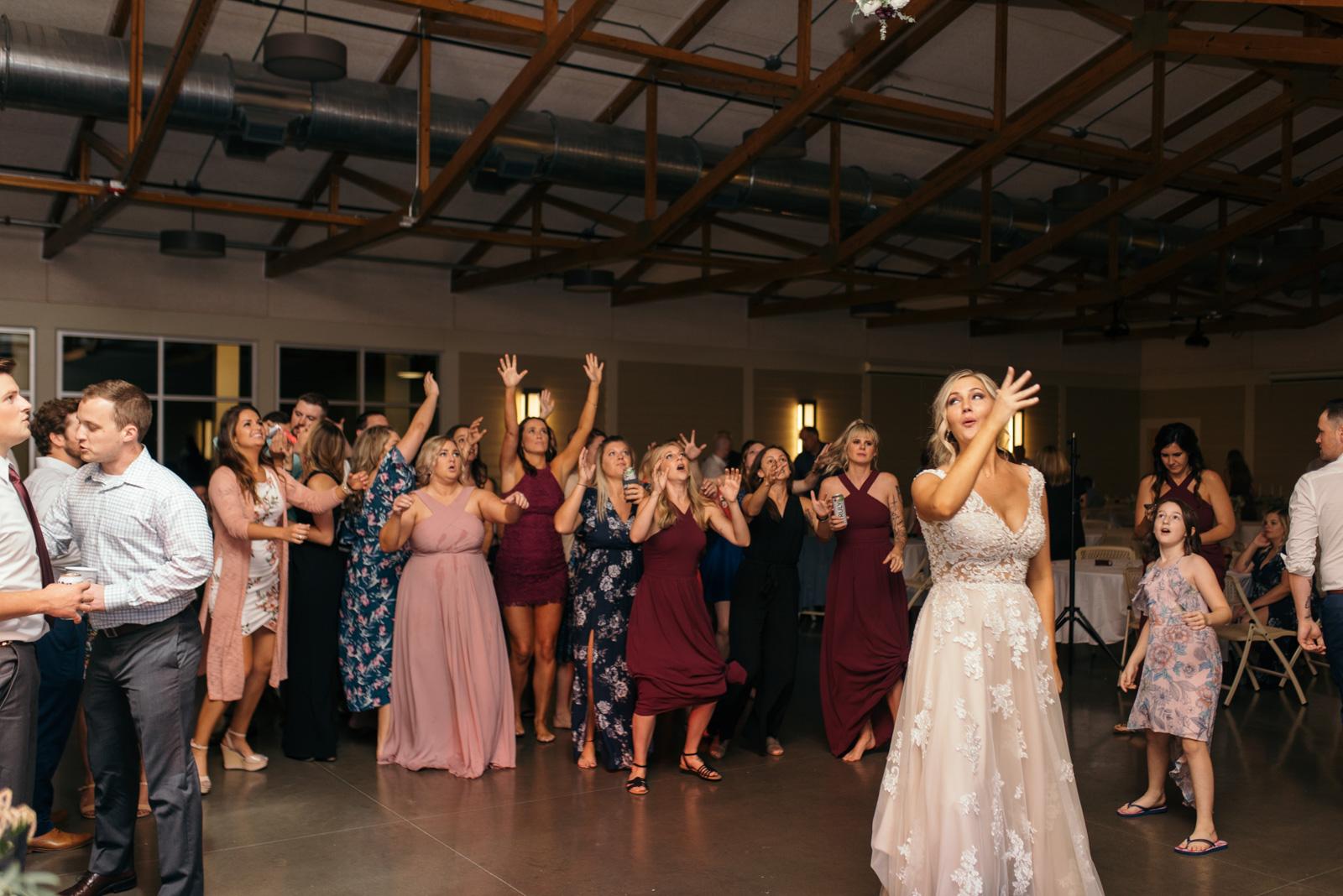 bouquet toss cedar rapids wedding