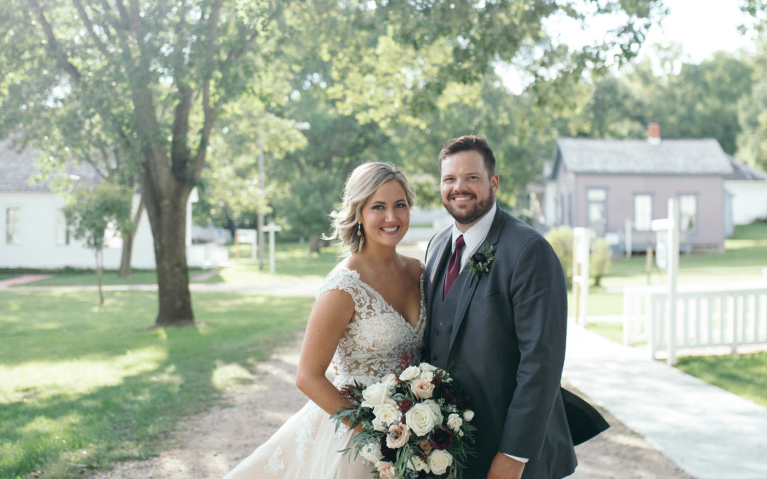 Bride and Groom at Ushers Ferry Historic Village Wedding Venue sunset