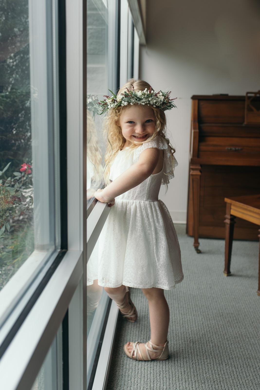flower girl with flower crown cedar rapids wedding