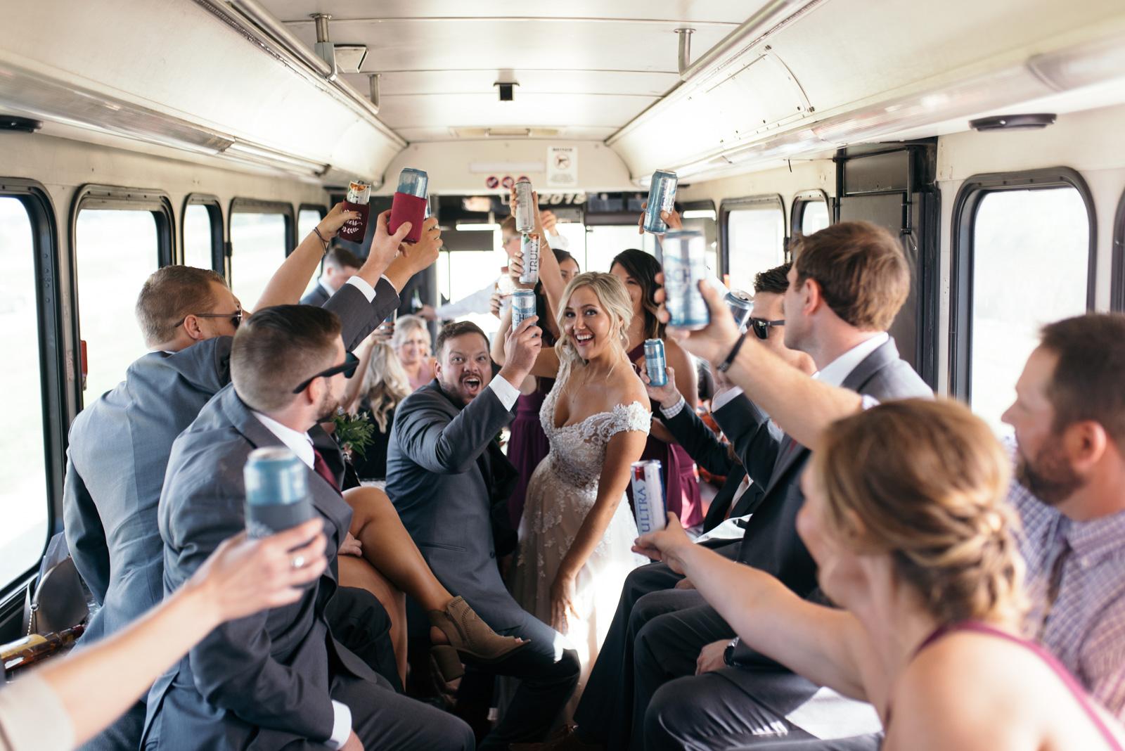 bridal party on party bus cedar rapids wedding