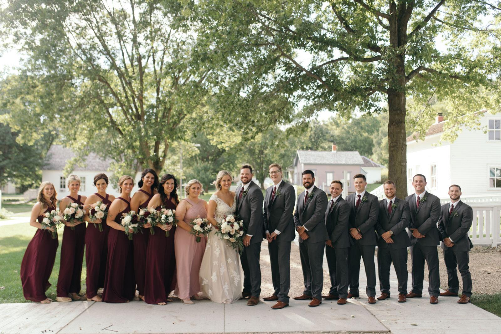 bridal party at Ushers Ferry Historic Village wedding