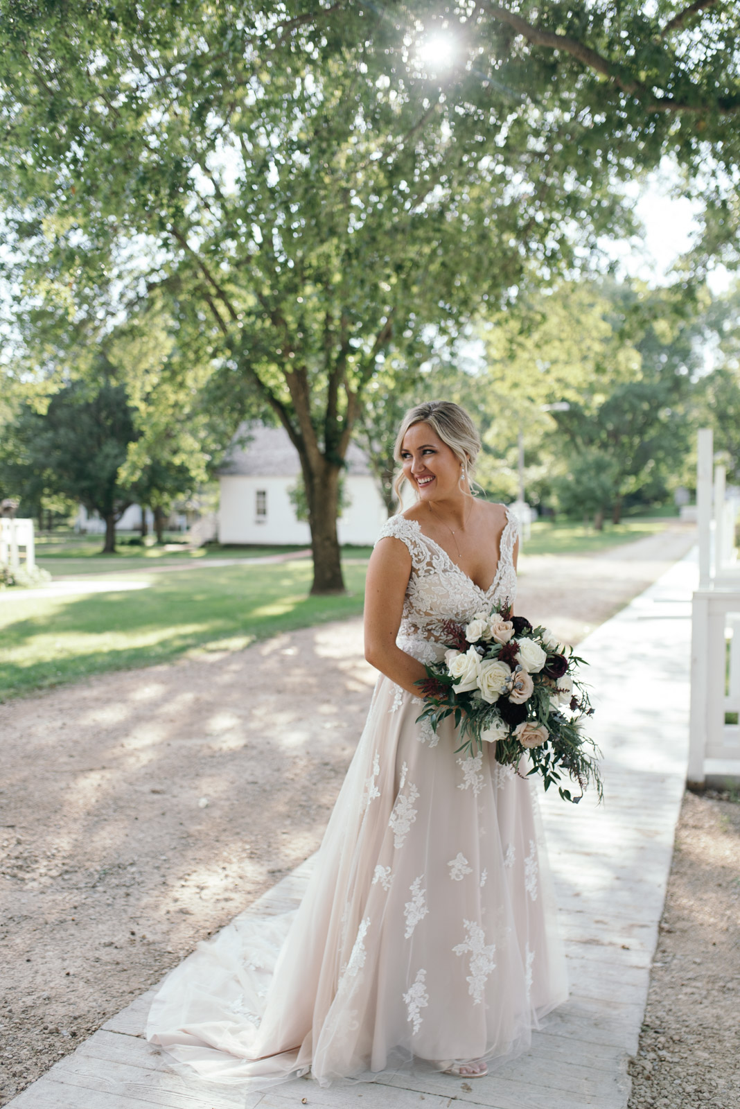 bride at sunset cedar rapids September wedding