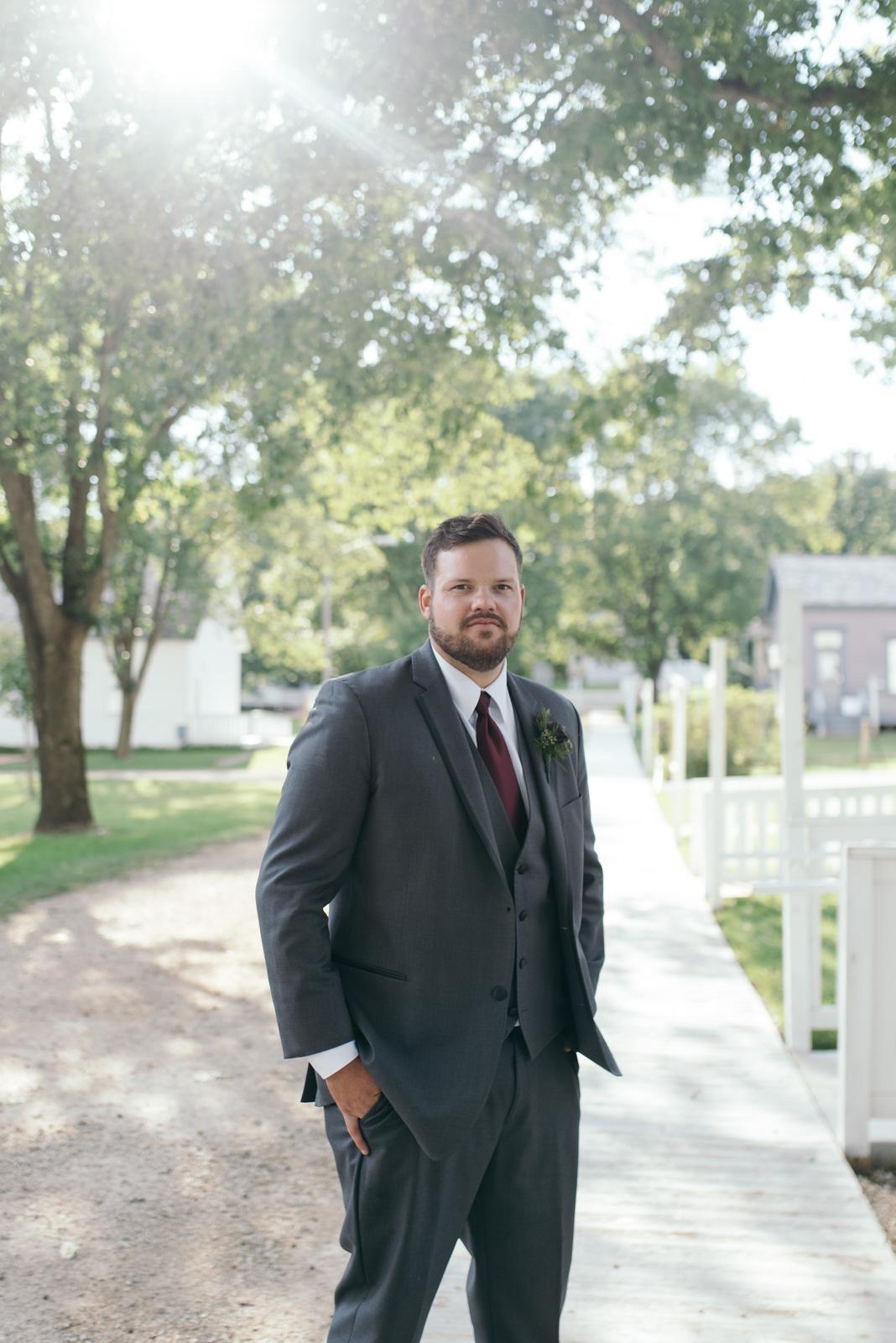 groom at Ushers Ferry Historic Village wedding