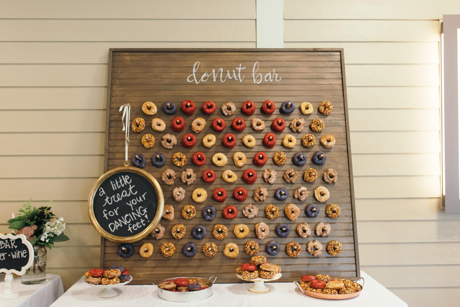 doughnut wall wedding dessert table