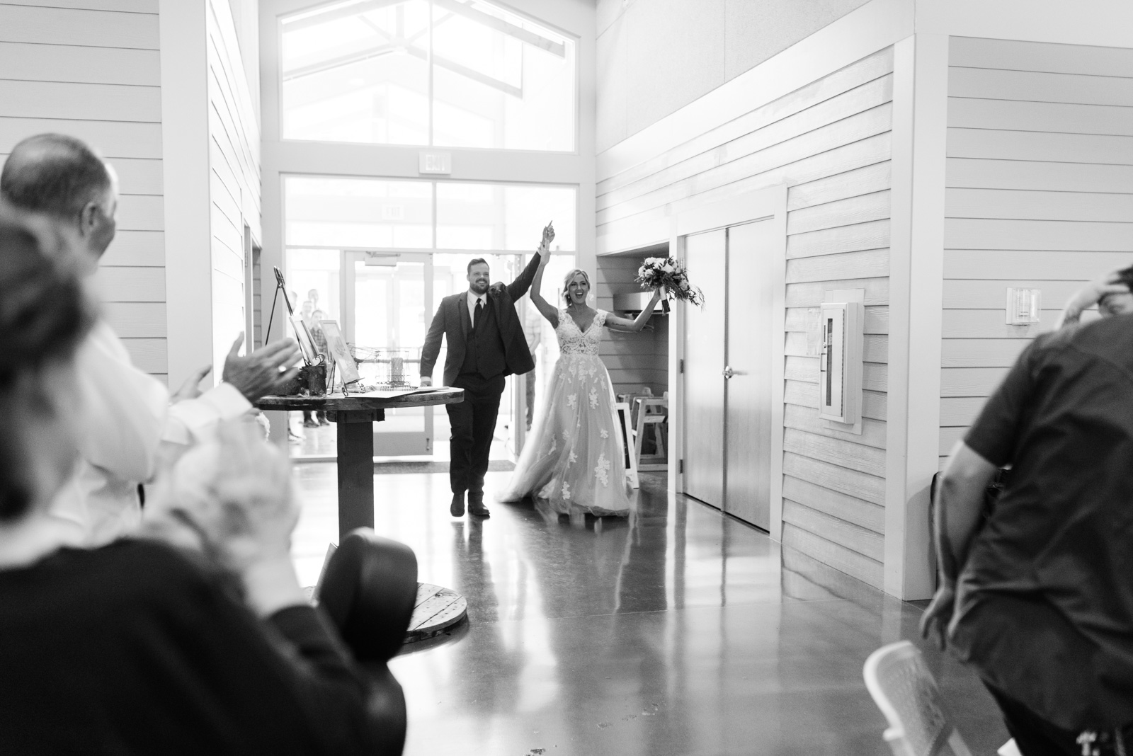 bride and groom grand entrance Ushers Ferry Historic Village wedding
