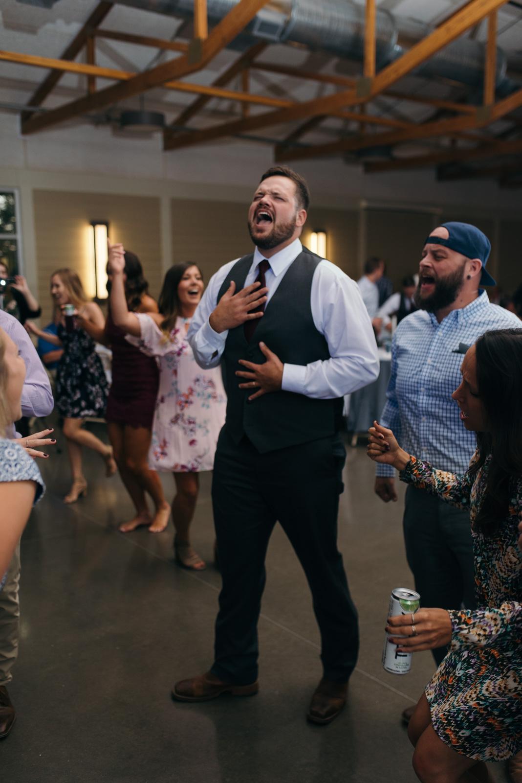 groom dancing Ushers Ferry Historic Village wedding reception