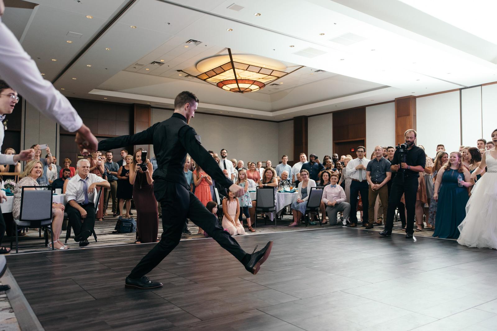 epic wedding dance battle Coralville Marriott Hotel wedding venue