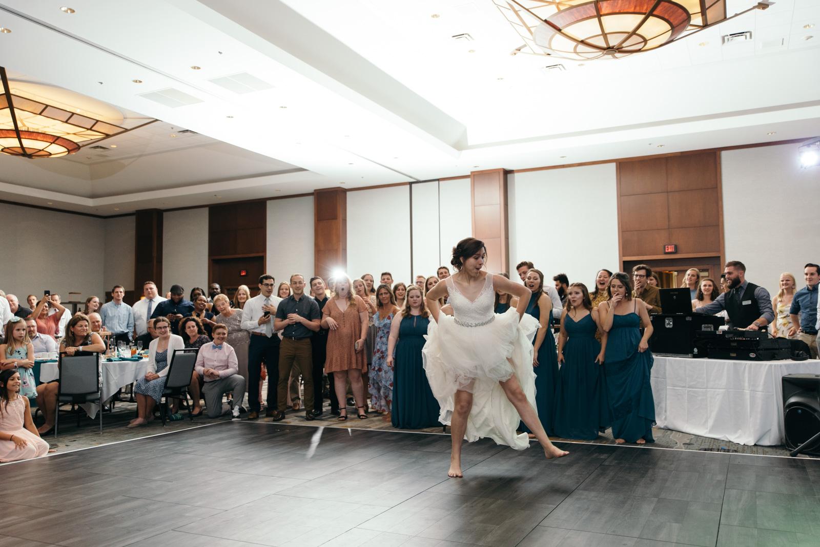epic wedding dance battle Coralville Marriott Hotel wedding
