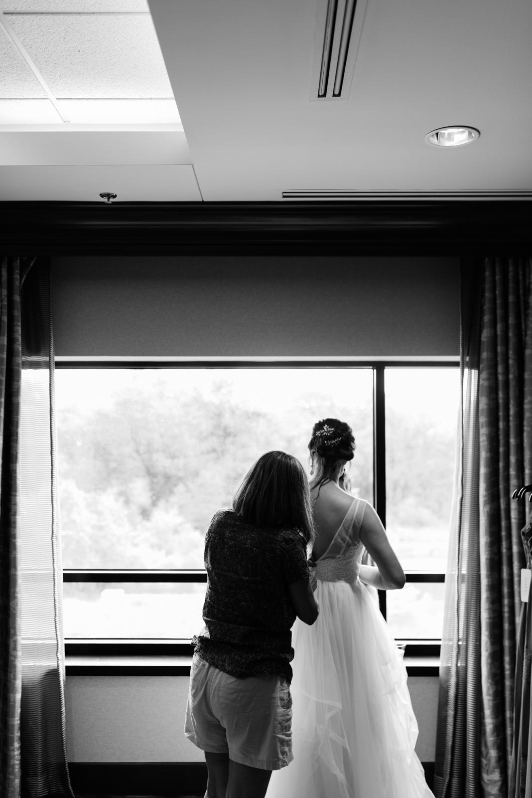 bride getting ready Coralville Marriott Hotel Wedding