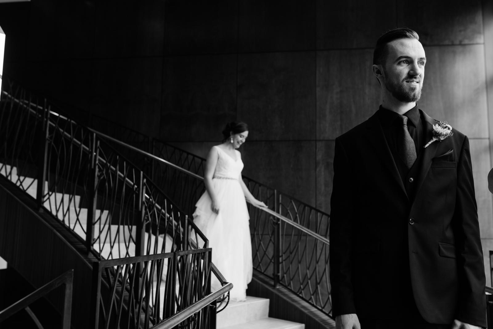 bride and groom first look Coralville Marriott Hotel Wedding