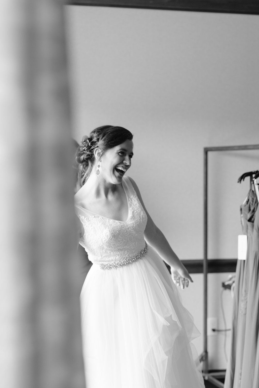 bride smiling at Coralville Marriott Hotel Wedding