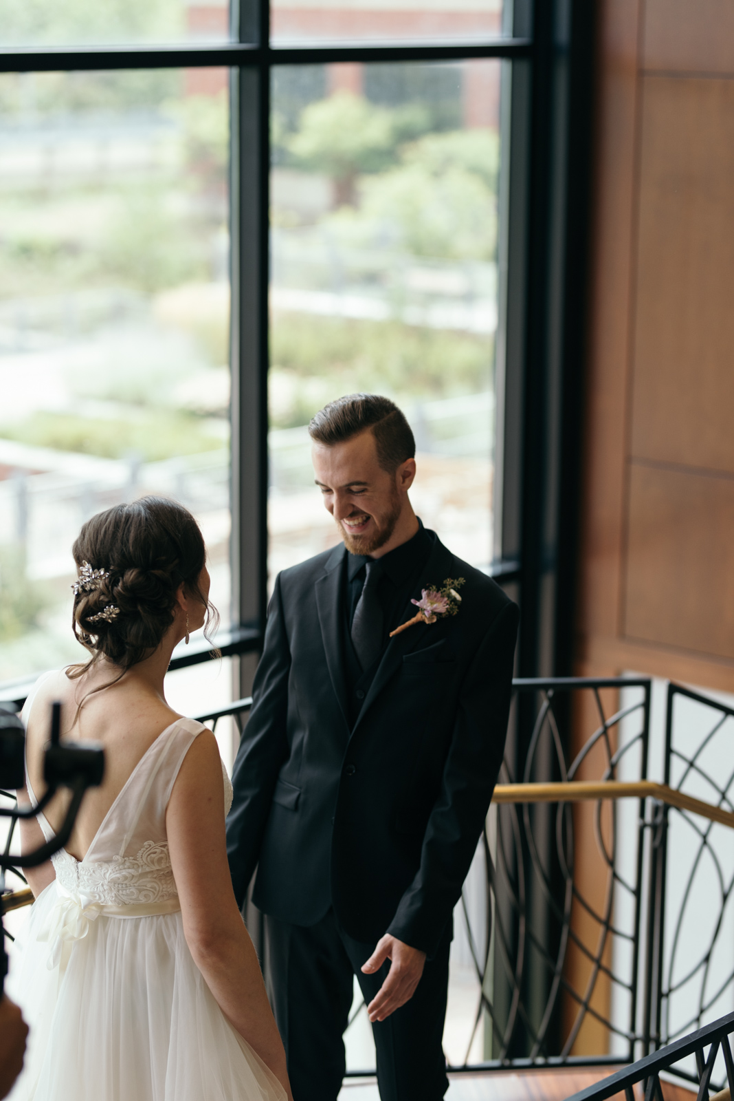 first look at Coralville Marriott Hotel Wedding
