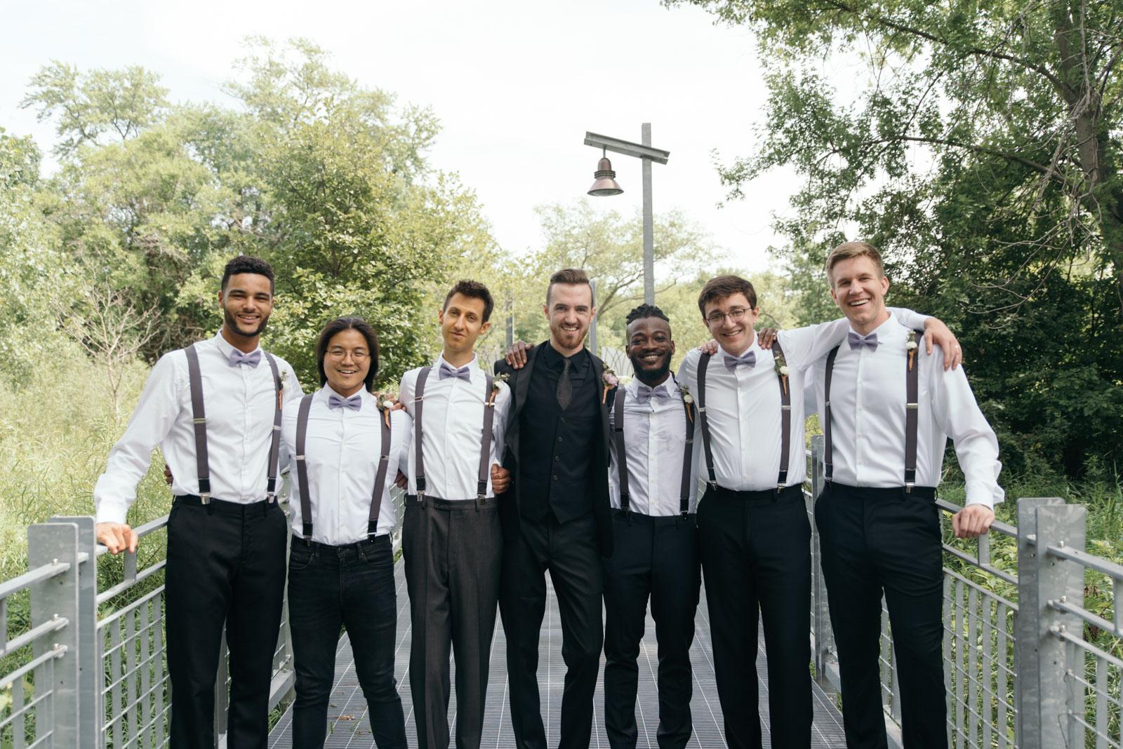 groom with groomsmen at Coralville Marriott Hotel Wedding