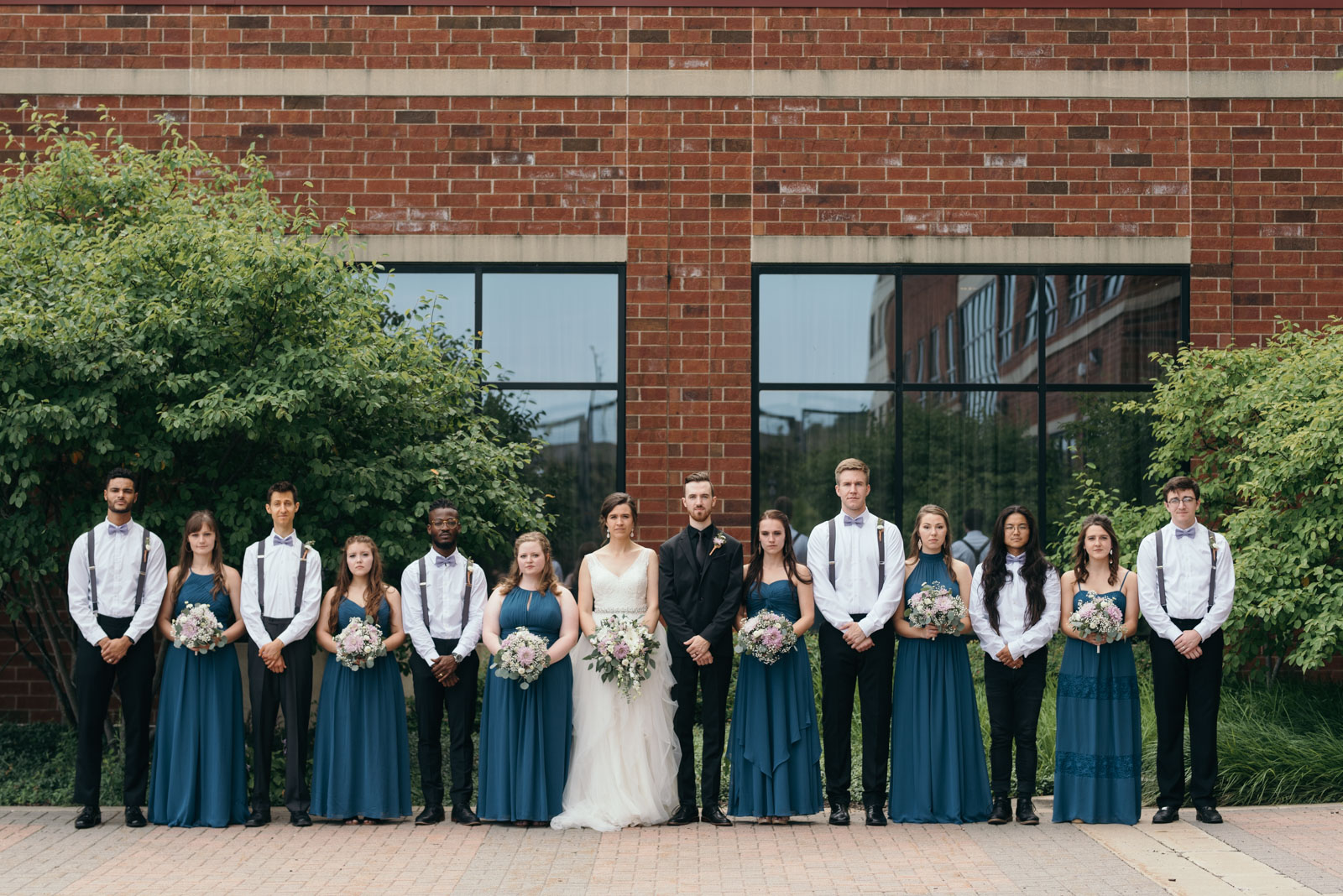bridal party at Coralville Marriott Hotel Wedding