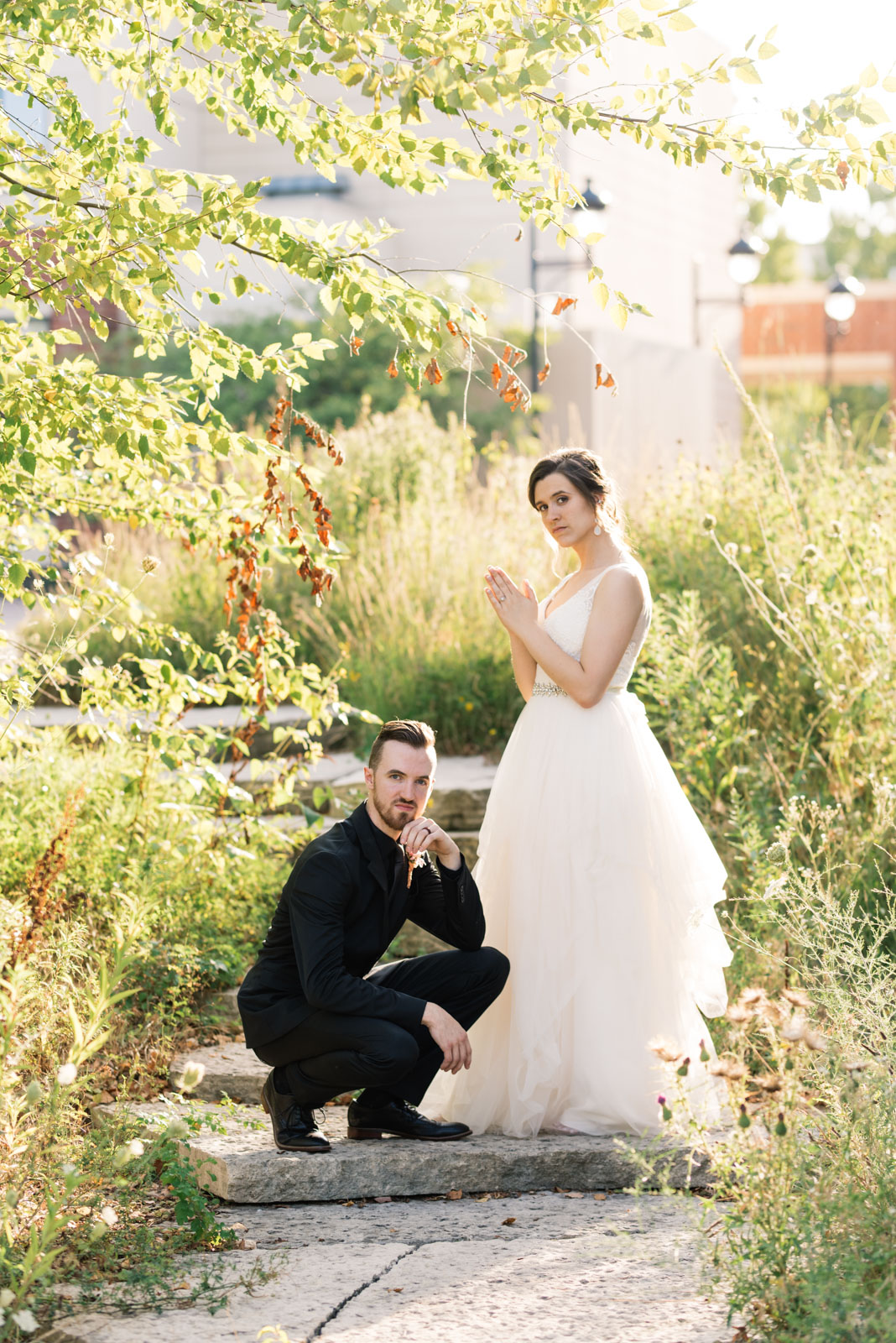 bride and groom band photo Coralville Marriott Hotel wedding venue