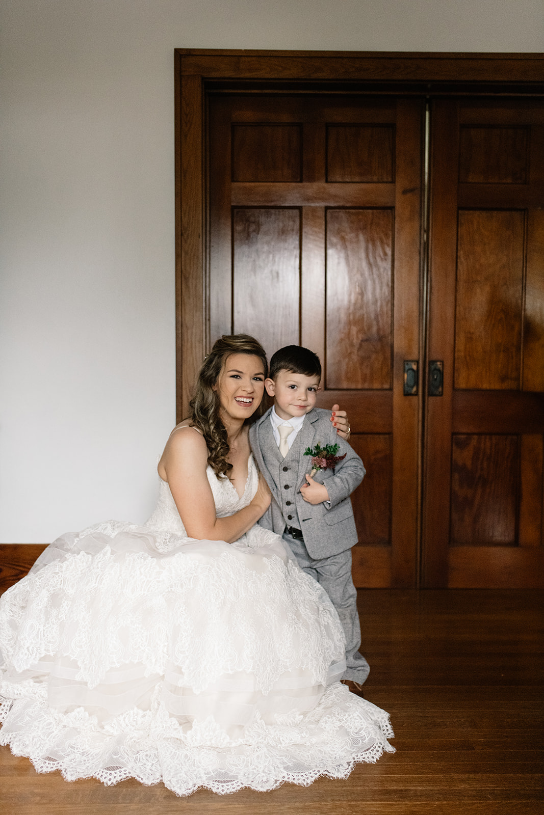 bride and ring bearer wellman iowa wedding