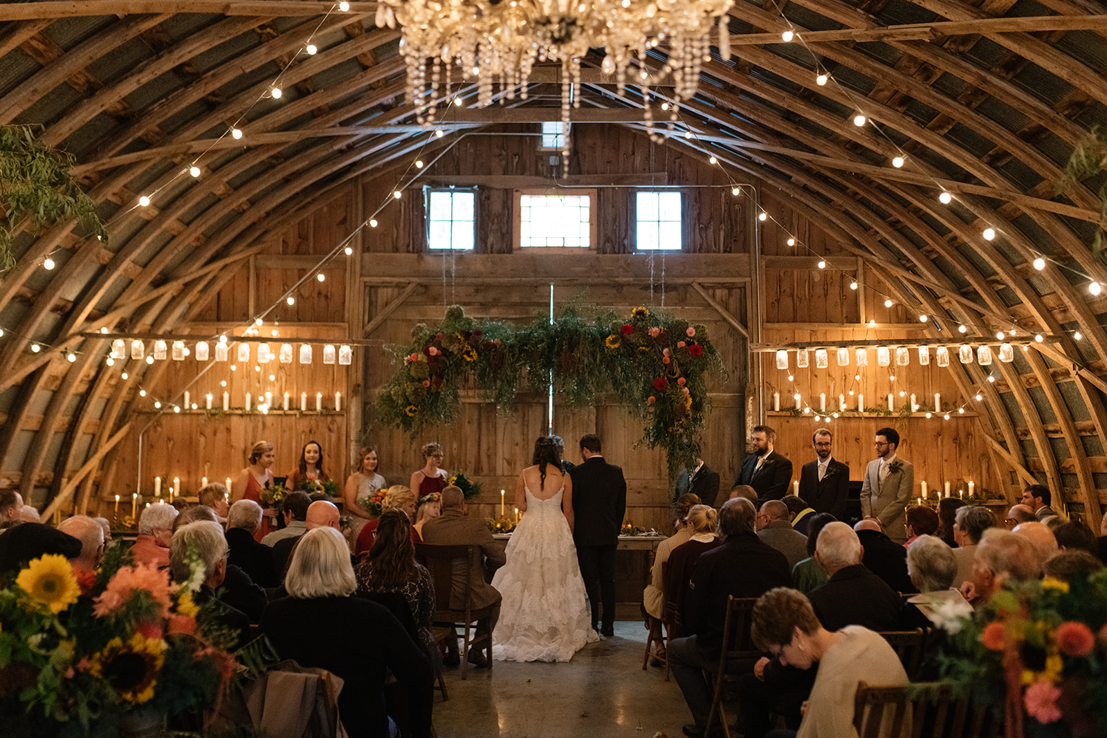 wedding ceremony at the barn wedding venue