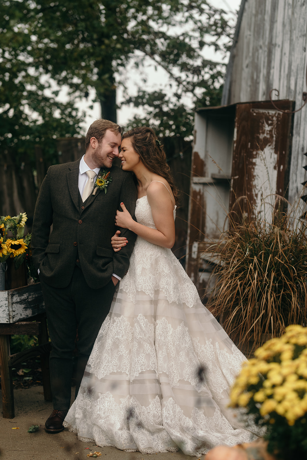 bride and groom at the barn iowa wedding