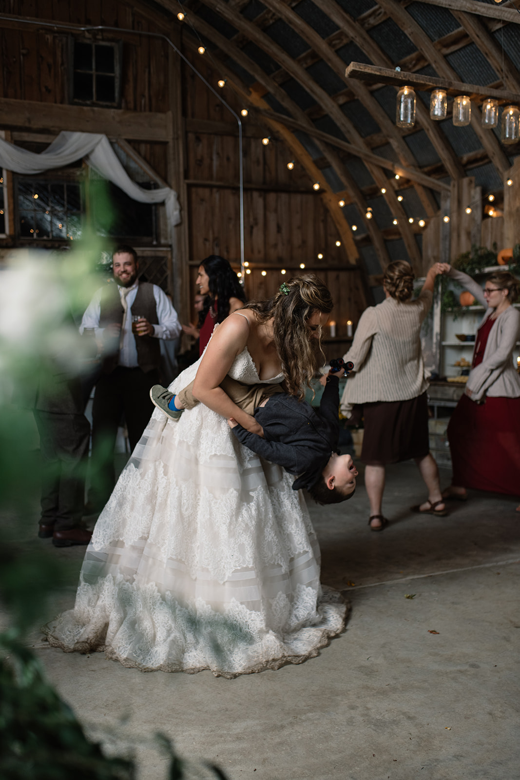 bride dancing at wellman iowa wedding reception