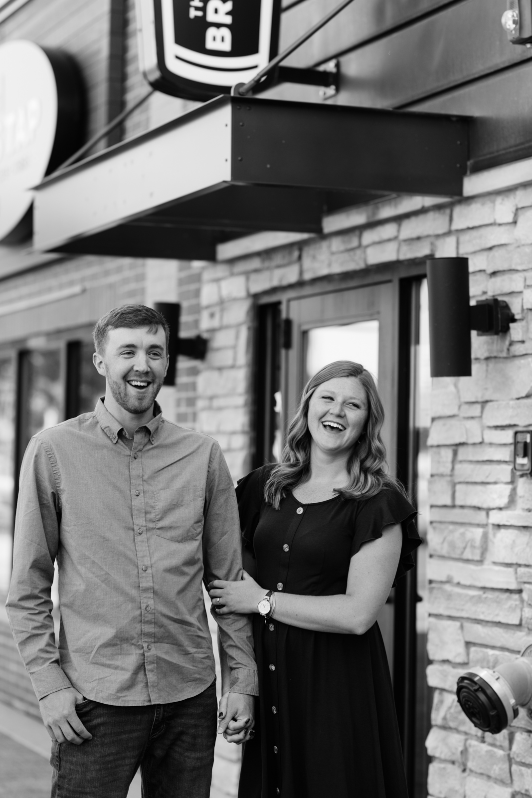 couple laughing engagement session cedar falls