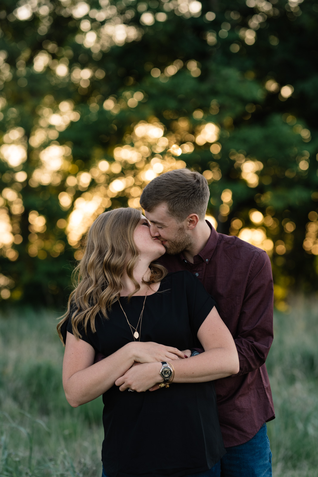 couple sunset June engagement session