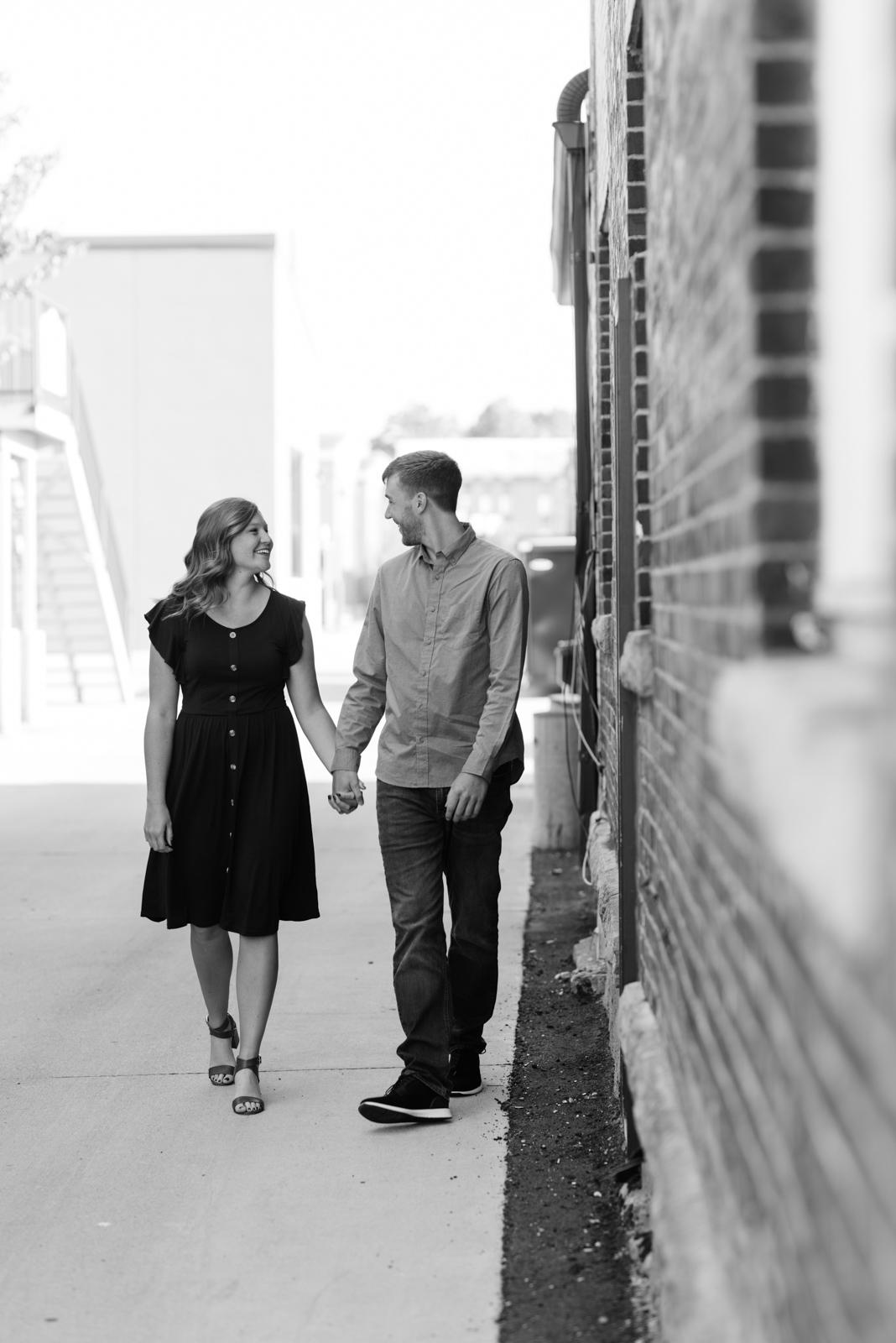 couple walking cedar falls engagement