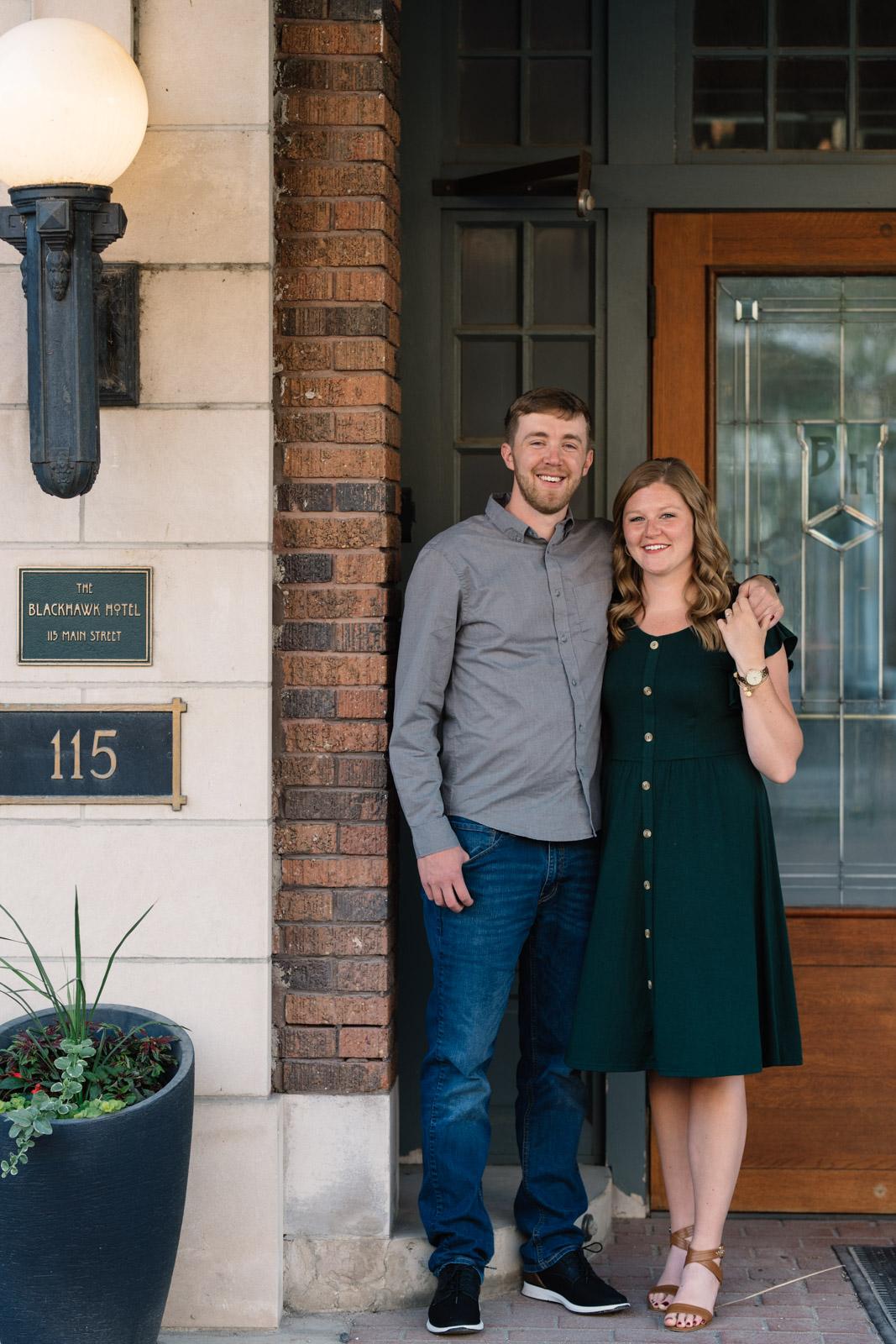 couple outside cedar falls engagement