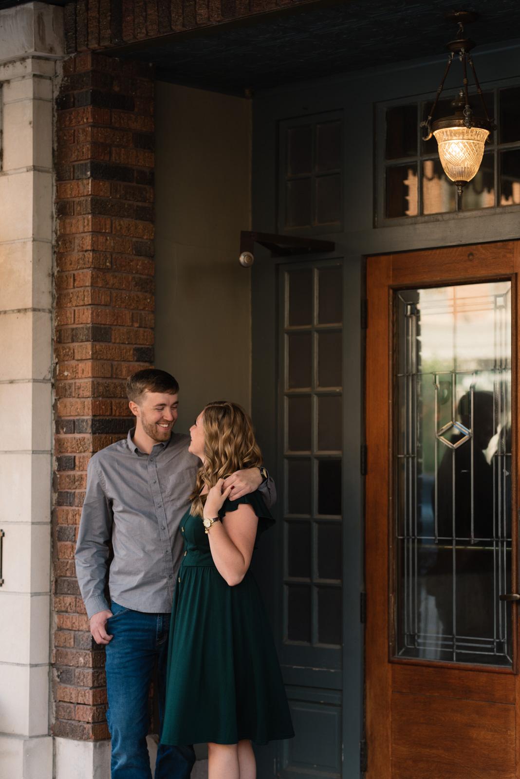couple outside blackhawk hotel engagement