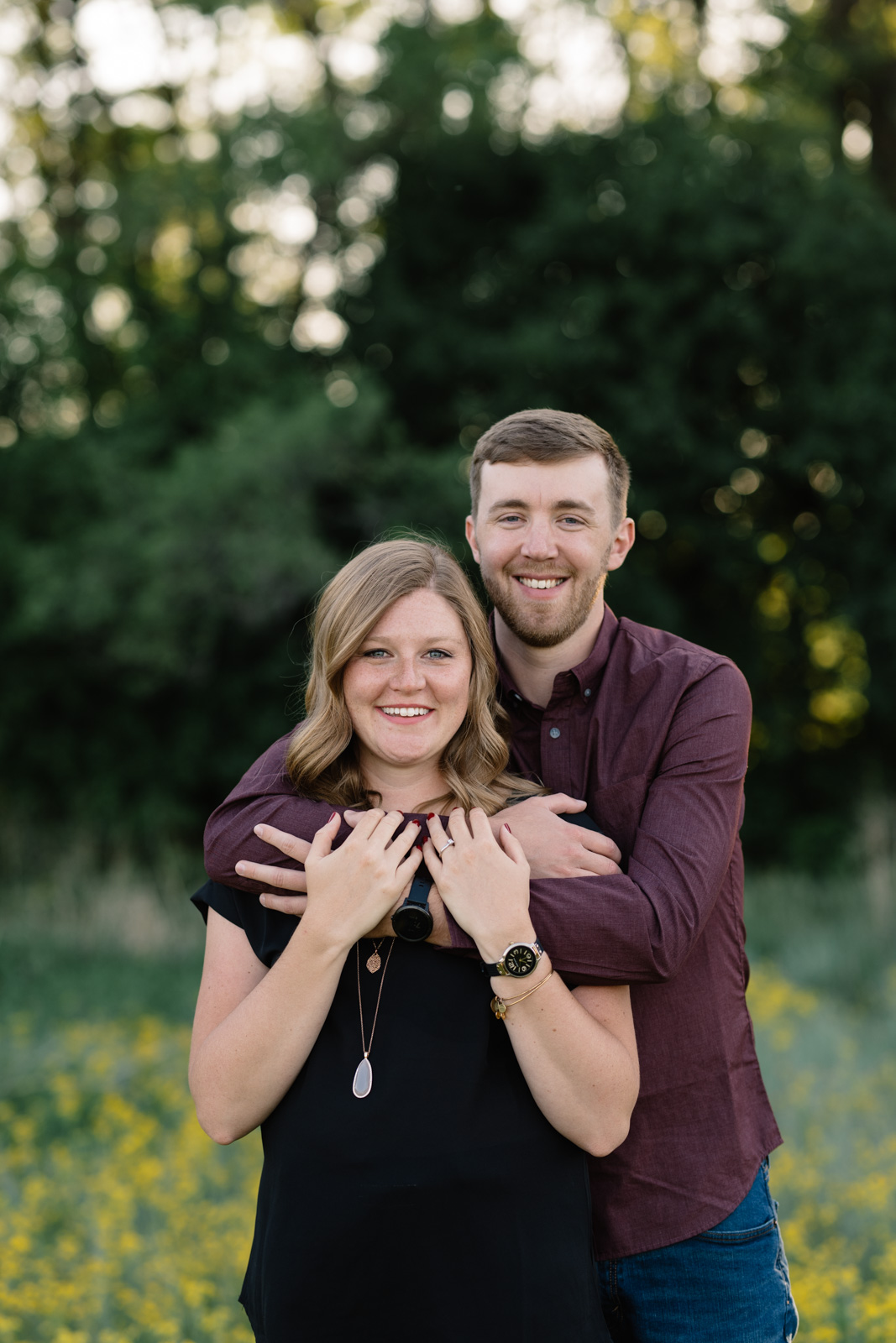 couple smiling george wyth state park engagement session