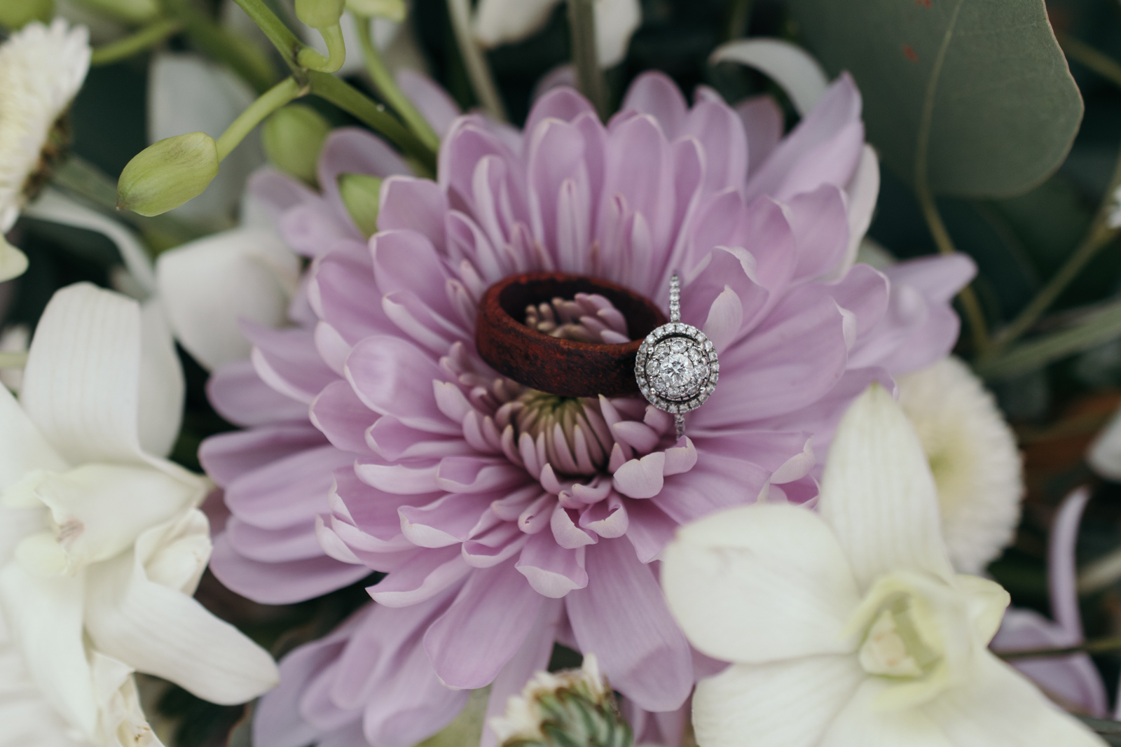 wedding rings in flowers at coralville wedding