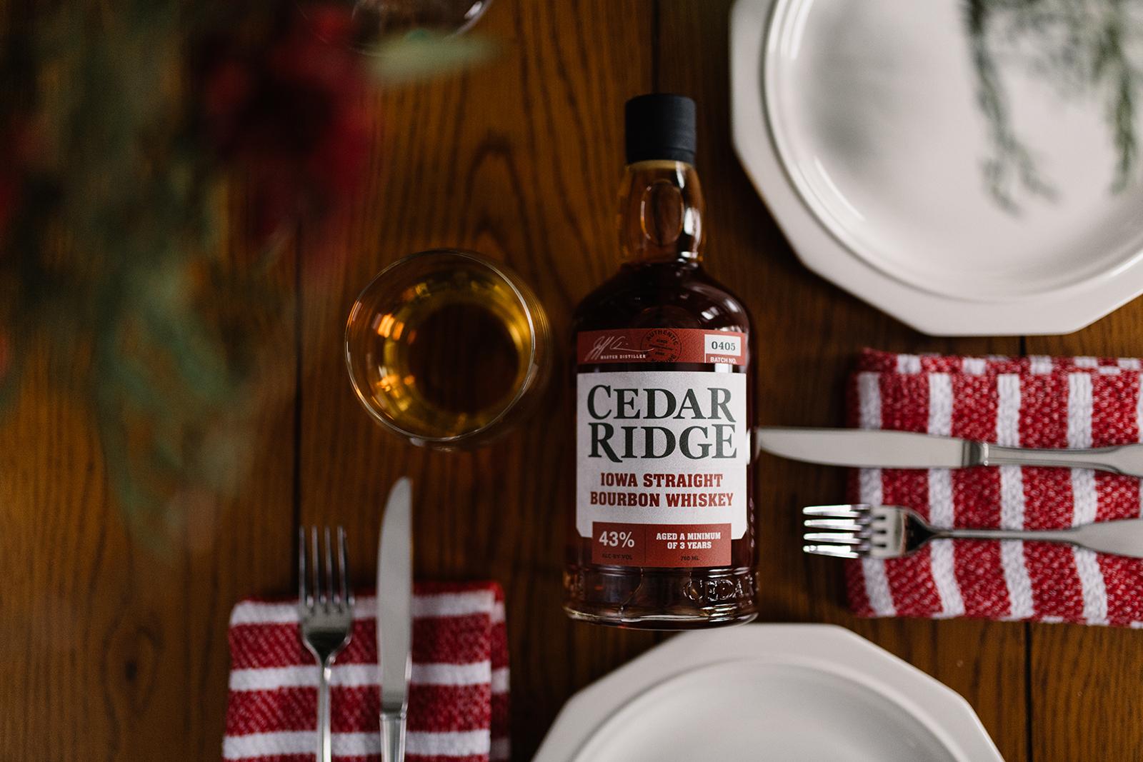 cedar ridge winery bourbon on wood table setting cedar rapids iowa commercial photography