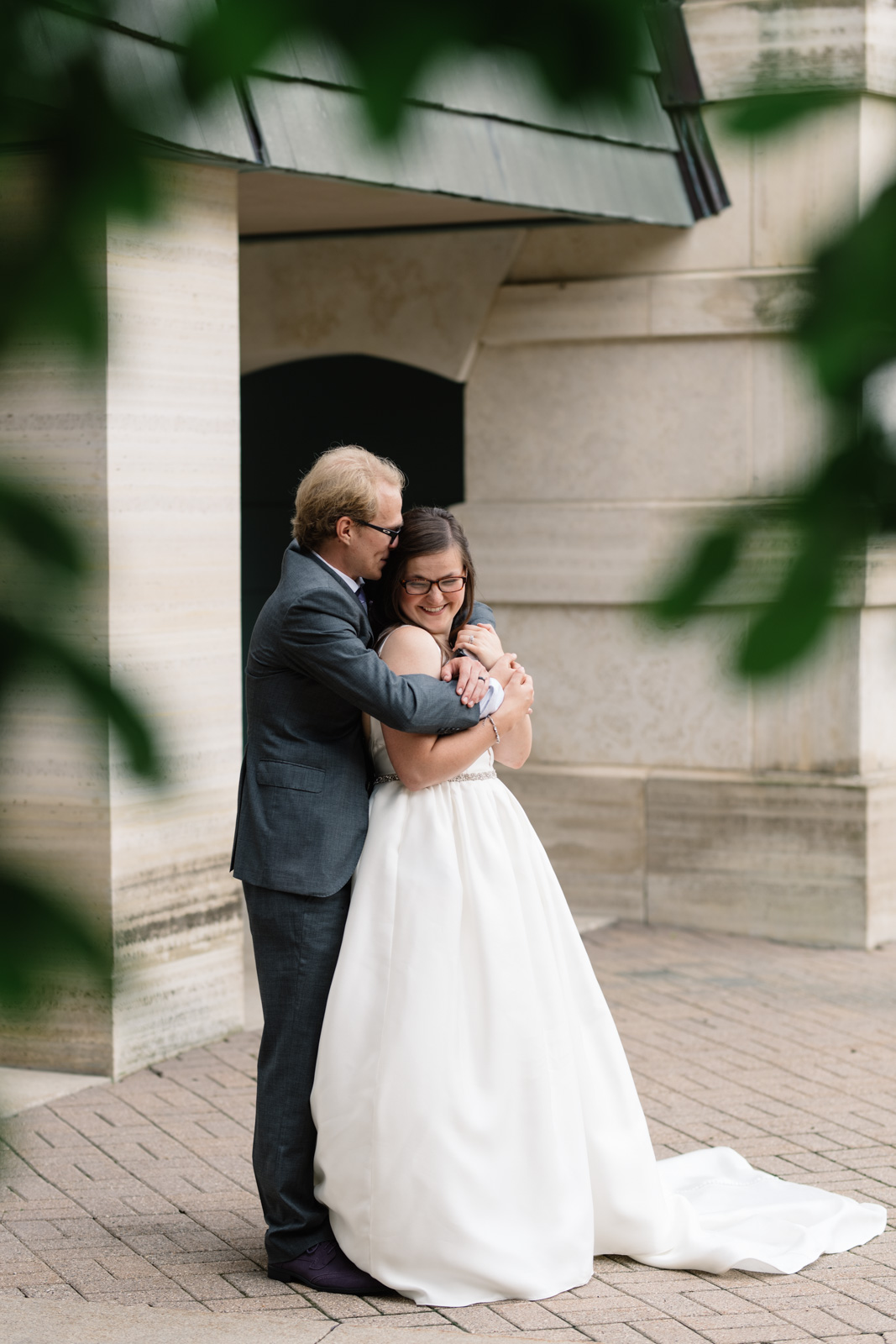 bride and groom outside wartburg college wedding