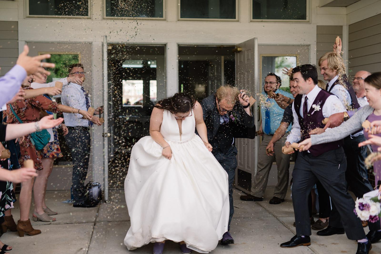 bride and groom wedding reception exit fox ridge golf course