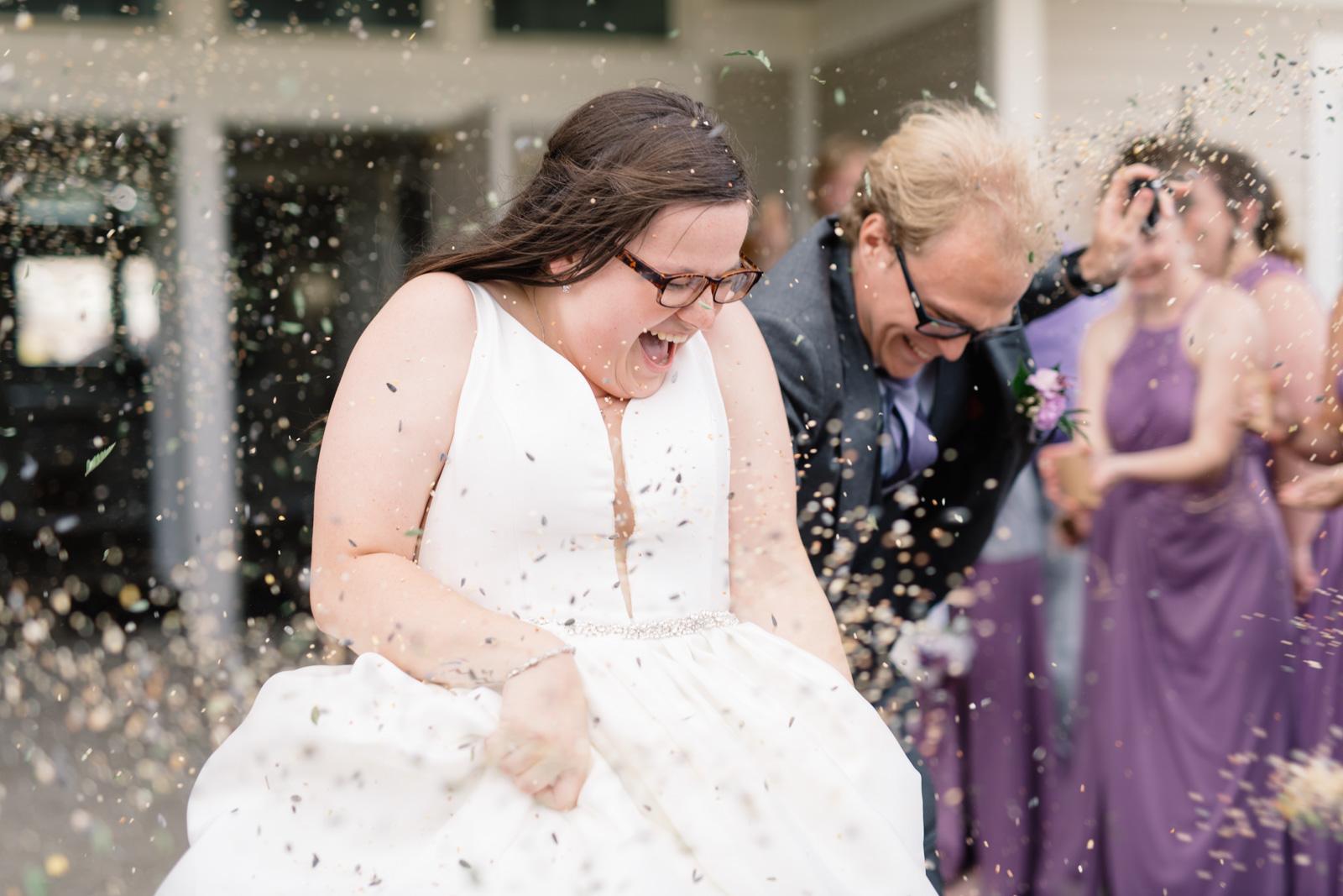 bride and groom wedding reception exit iowa wedding