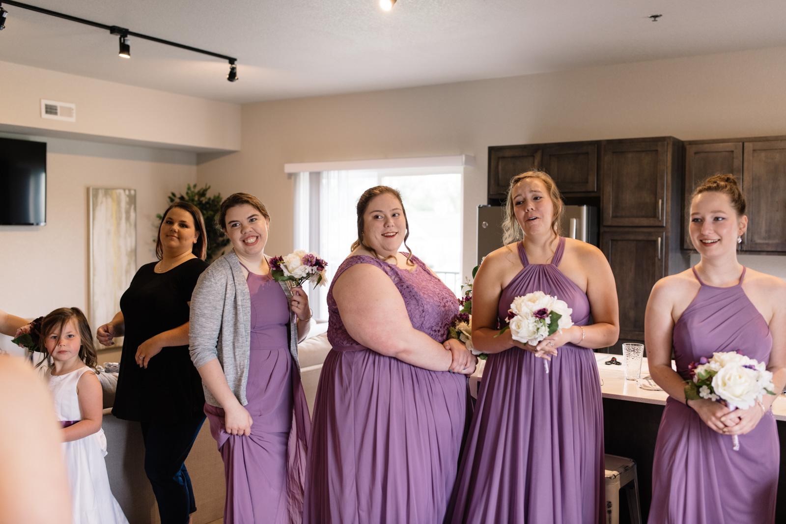 bridesmaids reaction first look iowa wedding
