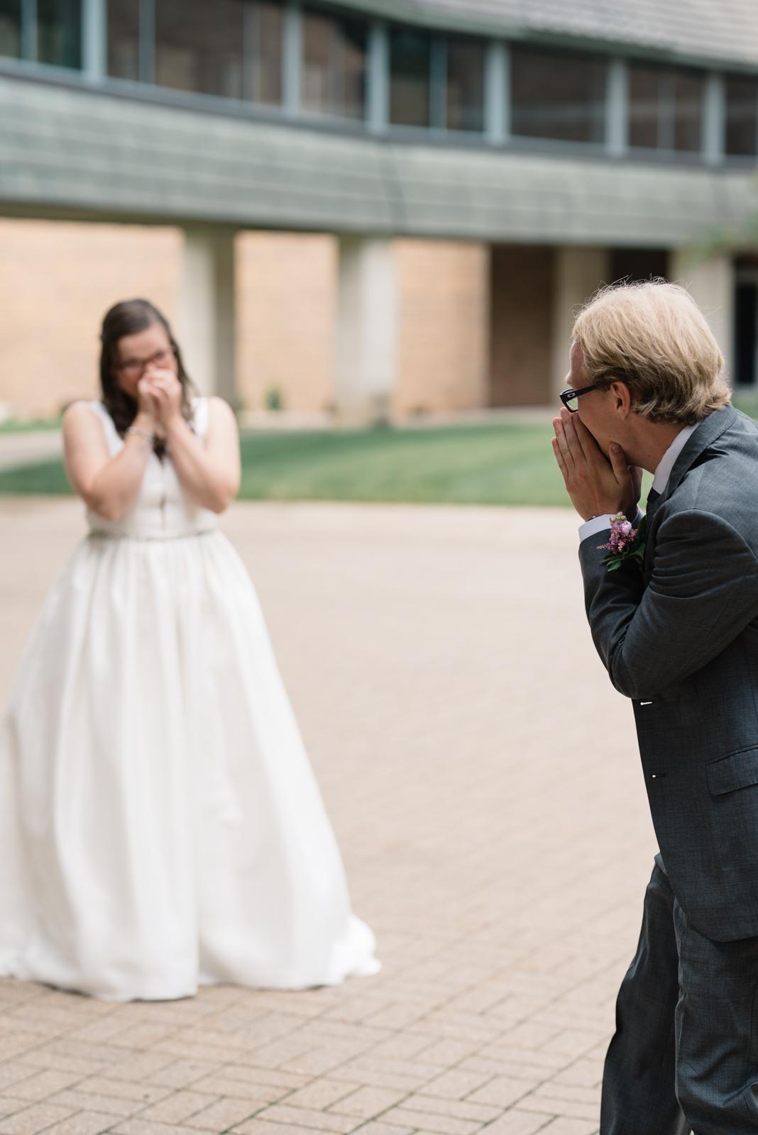 bride reaction first look wartburg college