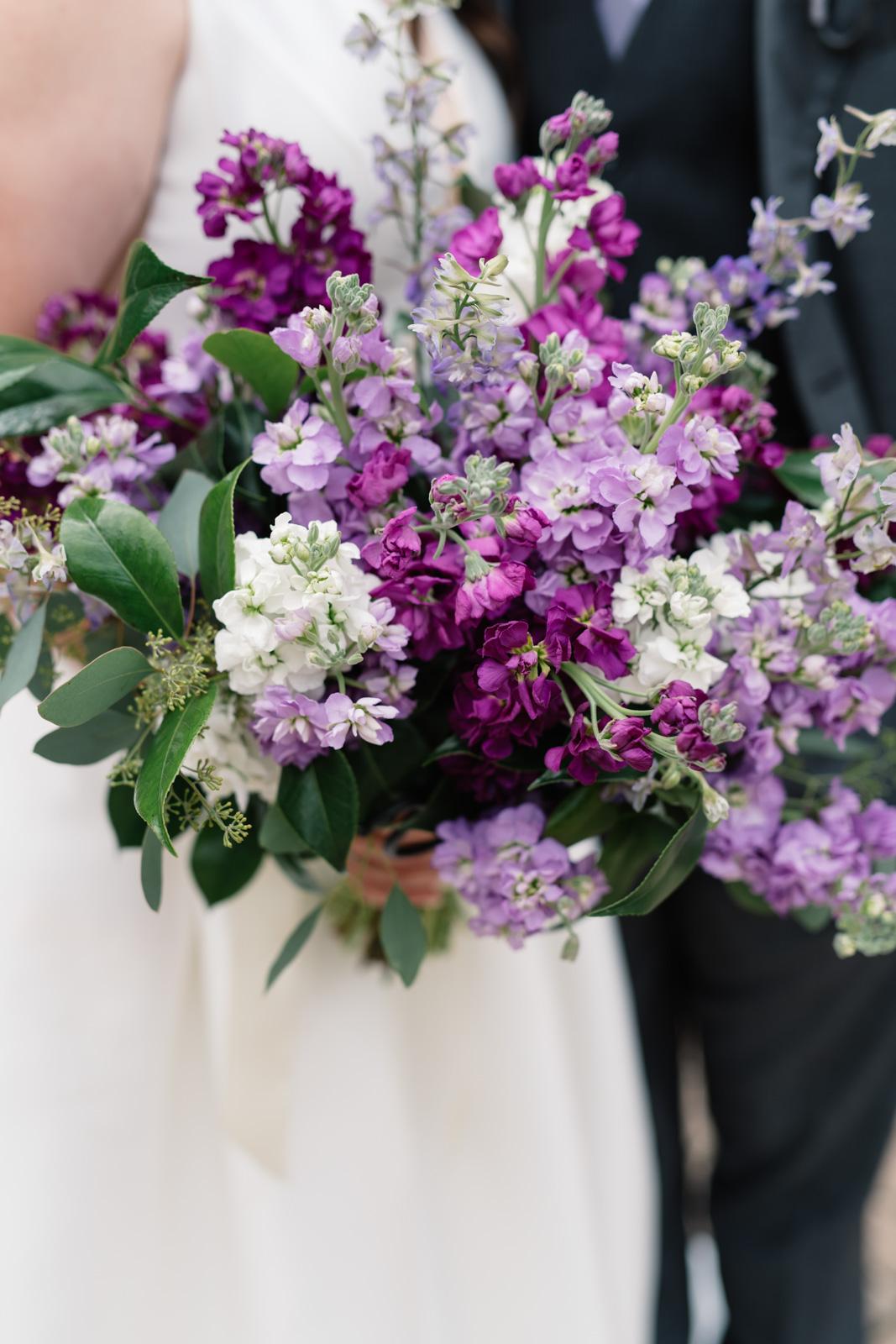 purple flower wedding bouquet