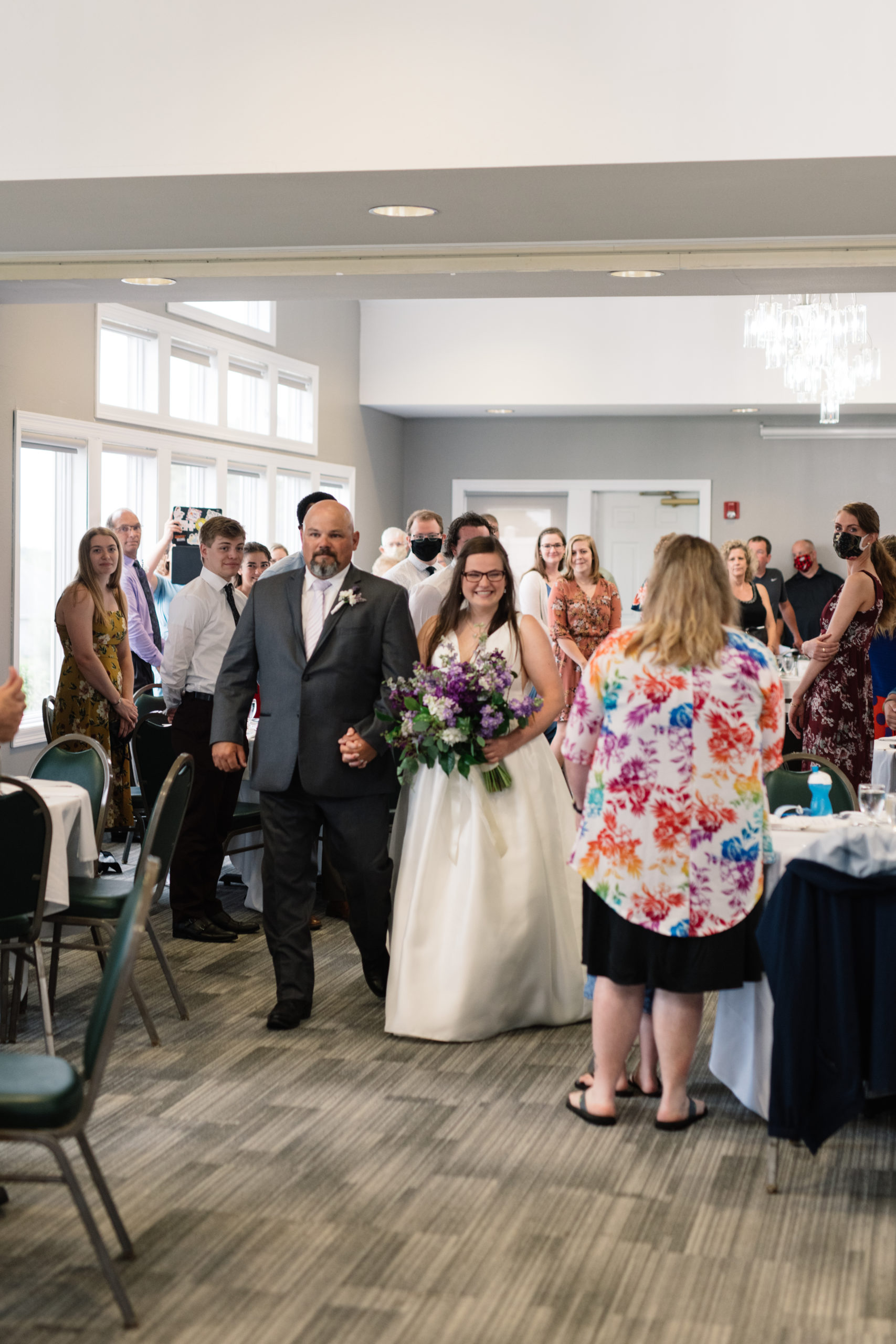 bride walking down the aisle fox ridge golf course wedding venue