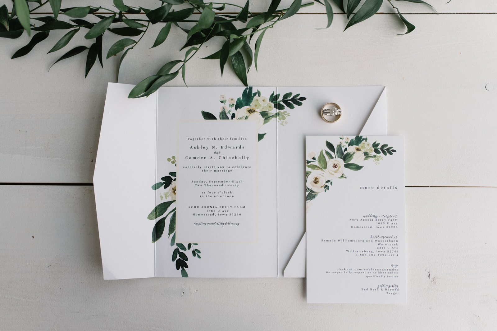 white and green wedding invitation suite