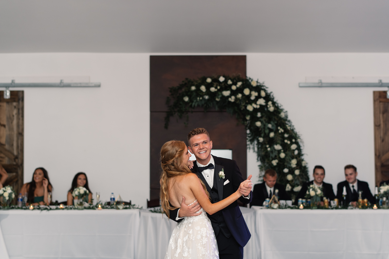 bride and groom first dance koru berry farm wedding venue
