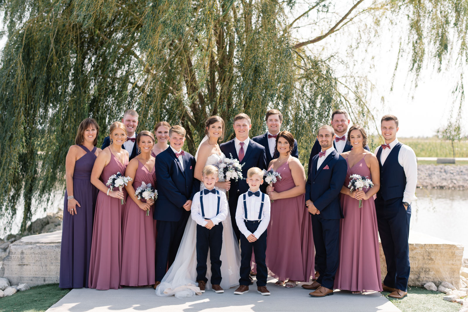 bridal party by willow tree epic event center wedding venue