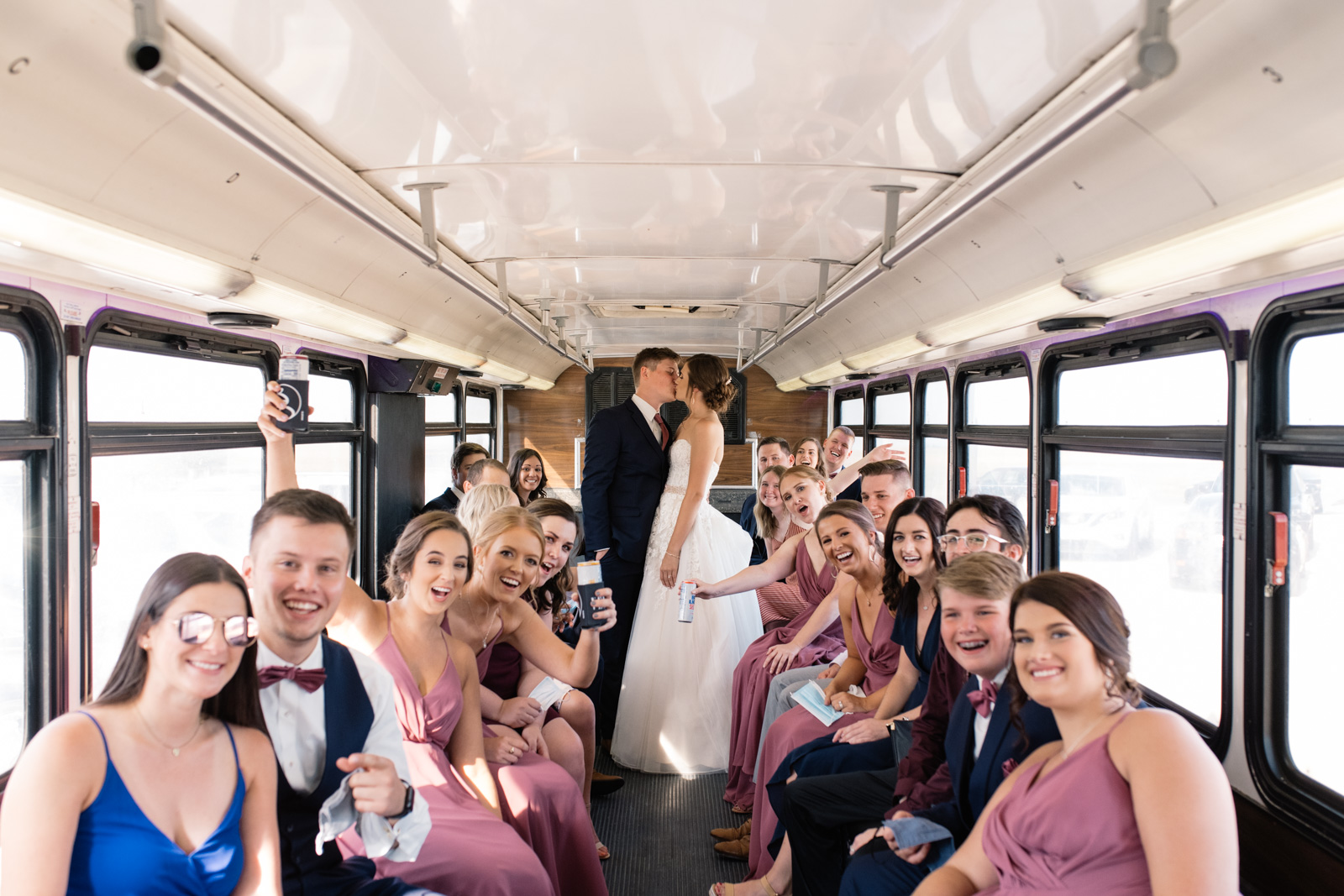 bridal party on party bus