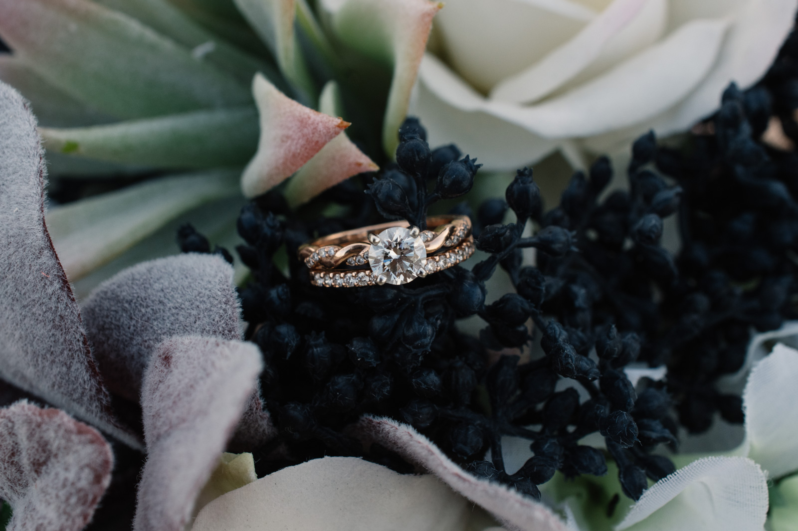 wedding ring in wedding bouquet epic event center cedar rapids wedding venue